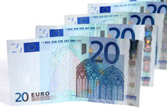Line of 20 Euros notes. Royalty Free Stock Photo
