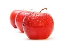 The line. Close-up view of the apple's line isolated on the white. Slightly high key Royalty Free Stock Photography
