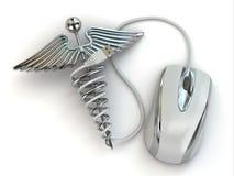 Έννοια της ιατρικής on-line. Σημάδι και ποντίκι κηρυκείων. Στοκ Φωτογραφίες