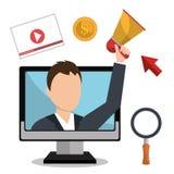 On-line διαφήμιση και ψηφιακό μάρκετινγκ Στοκ Φωτογραφία