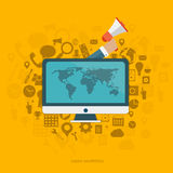 On line advertising. Concept. Hand holding megaphone coming out from computer monitor with icons. Flat vector illustration stock illustration