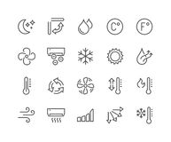 Line Air Conditioning Icons Royalty Free Stock Photos