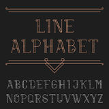 Line alphabet vector font. Royalty Free Stock Photo