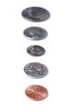 Line of American Coins Stock Photo