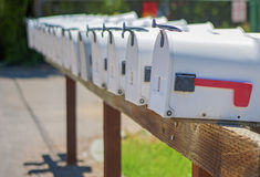 Line of the American Post Office Boxes Outside Royalty Free Stock Images