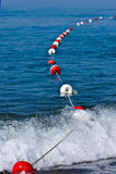 Line of anchor buoys Royalty Free Stock Photos