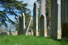 Line of ancient gravestones in cemetery. Ancient gravestones lined up in a cemetery. There is one rebel not standing to attention in the line and leaning over royalty free stock images