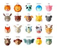 Line Animal Head Icon Set. Vector Illustration. Royalty Free Stock Photography