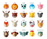 Line Animal Head Icon Set. Vector Illustration. Stock Photos