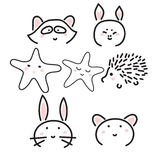 Line animal icons with cute faces. Raccoon, hedgehog, bunny, pig and bear. Minimalistic animal doodle illustration Stock Photos