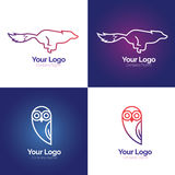 Line animal logo. In vector format. Fox and owl illustrations suitable for logo and icon Stock Images