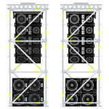 Line array concert acoustics scaffold suspension illustration. Vector colored flat design event line array massive loudspeakers satellites suspended metal Royalty Free Stock Image