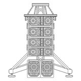 Line array concert acoustics on truss suspension illustration. Vector monochrome contour line array loudspeakers satellites suspended metal truss subwoofers Royalty Free Stock Photos