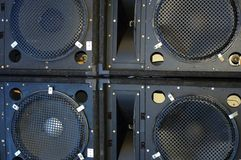 Line array speakers. Close up Line array speakers stock photos