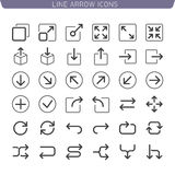 Line Arrow icon set. Vector Thin icon set for Web and Mobile app Stock Photo