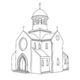Line art ancient basilica drawing vector. Illustration Stock Photos