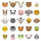 Line art animals cute baby cartoon cubs flat design head icons set character vector illustration Stock Photography