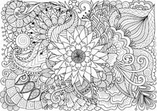 Line art of beautiful flowers for background and coloring book page for adult and kids. Vector illustration Stock Photography
