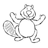 Line Art Beaver Cartoon Stock Image