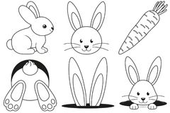 Free Line Art Black And White Rabbit Carrot Icon Set. Royalty Free Stock Images - 112263079