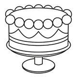 Line art black and white birthday cake on stand. Coloring page for adults and kids Sweet food vector illustration for icon, sticker sign, certificate badge stock illustration