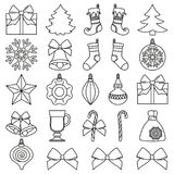 Line art black and white 25 christmas elements set. New year holiday decorations. Vector illustration for icon, logo, sticker, patch, label, badge, emblem Stock Photos