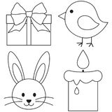 Line art black and white easter icon set chicken chick bunny face candle, gift box. Coloring book page for adults and kids. Vector illustration for gift card Stock Photo