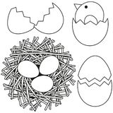 Line art black and white easter icon set chicken nest egg shell. Coloring book page for adults and kids. Vector illustration for gift card, flyer, certificate Stock Photos