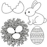 Line art black and white easter icon set egg shell bunny chicken nest icon set. Line art black and white easter icon set egg shell bunny chicken nest. Coloring Stock Image