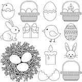 Line art black and white easter icon set 13 elements. Coloring book page for adults and kids. Vector illustration for gift card, flyer, certificate or banner Royalty Free Stock Photography