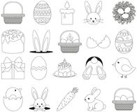 Line art black and white easter icon set 20 elements. Coloring book page for adults and kids. Vector illustration for gift card, flyer, certificate or banner Stock Image