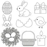 Line art black and white easter icon set 9 elements. Coloring book page for adults and kids. Vector illustration for gift card, flyer, certificate or banner Stock Image