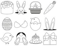 Line art black and white easter icon set 12 elements. Coloring book page for adults and kids. Vector illustration for gift card, flyer, certificate or banner Stock Photo