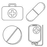 Line art black and white first aid kit content set. Pills drugs and IV bag. Healthcare themed  illustration for icon, sticker, sign, patch, certificate badge Royalty Free Stock Image