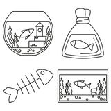 Line art black and white fish elements. Simple supplies for domestic animal. Pet shop themed vector illustration for icon, sticker, patch, label, badge Royalty Free Stock Photo