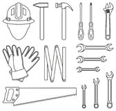 Line art black and white 15 handyman tools set. Simple toolkit for home repair. Construction themed vector illustration for icon, logo, sticker, patch, label royalty free illustration