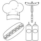 Line art black and white hot dog cooking set. Food themed  illustration for gift card certificate sticker, badge, sign, stamp, logo, label, icon, poster, patch Royalty Free Stock Image