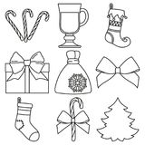 Line art black and white 9 new year elements set. Xmas holiday decorations. Vector illustration for icon, logo, sticker, patch, label, badge, emblem Royalty Free Stock Image