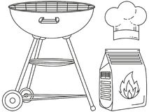 Line art black and white outdoors cooking set. BBQ grill, coal bag, chef hat. Holiday recreation  illustration for banner sticker badge, sign, stamp, logo Stock Photography