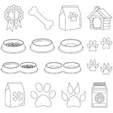 Line art black and white pet care 15 icon set. Poster. Vector illustration for gift card, flyer, certificate banner, logo, patch, sticker Stock Images