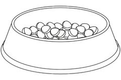 Line art black and white pet food bowl. Cat dog care themed vector illustration for gift card, flyer, certificate banner, logo, patch, sticker Stock Photo