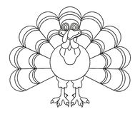 Line art black and white thanksgiving turkey royalty free illustration
