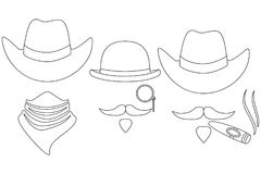 Line art black and white 3 western cowboy avatars. Line art black and white  3 1123d5c26c4b