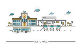 Line art bus terminal, station. Colorful illustration in flat style. Line art bus terminal, station, Colorful illustration in flat style royalty free illustration