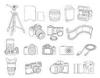Line art camera and gear Stock Image