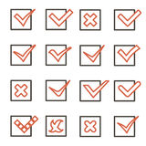 Line art Check Marks Symbols Tick and Cross Icons Set Mobile Apps Template Vector Illustration Royalty Free Stock Image