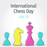 Line art chess figures for the International Chess Day for greet. Line art chess figures for the International Chess Day. Vector background, greeting for Royalty Free Stock Photography