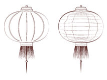 Line Art Chinese Lantern Stock Images