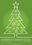 Line art christmas background with tree in green color  Stock Photos