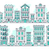 Line art city seamless landscapes. Outline housing, real estate market vector background. House building architecture, urban town street illustration Royalty Free Stock Images